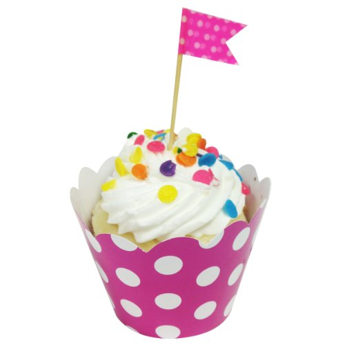 Wrapables Set of 20 Standard Size Polka Dots Cupcake Wrappers, Hot Pink -