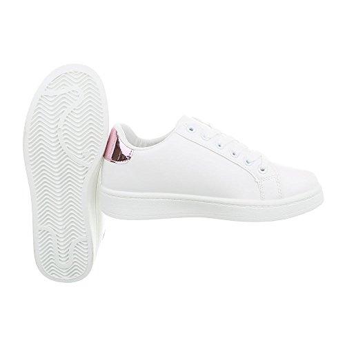 para Zapatillas Bajas Zapatillas 96 Mujer A Blanco Design Plano Zapatos Ital 0qwHEH