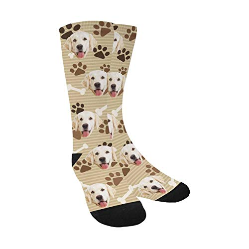 Dog Custom Print - Custom Personalized Photo Pet Face Printed Dog Paw Print and Bones Crew Socks for Men Women Unisex