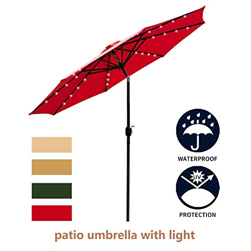 Leisurelife 9 Patio Umbrella with Lights Outdoor – Red Patio Table Umbrellas,8 Sturdy Ribs,Solar Power