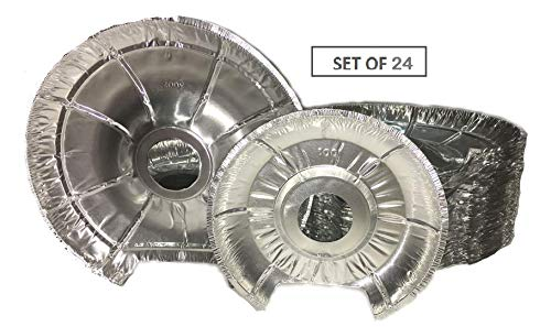 Electric Stove Bib Liner -Pack Of 24 -12 Large, 12 Small Electric Disposable Foil Burner Liners ()