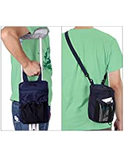 Crutch Bag Pouch Broken Leg Crutch Caddy Pocket Accessories Carry Bag Underarm Orthopedic Medical Crutches Cup Drink Holder Tote Bag for Women, Men (Navy Blue)