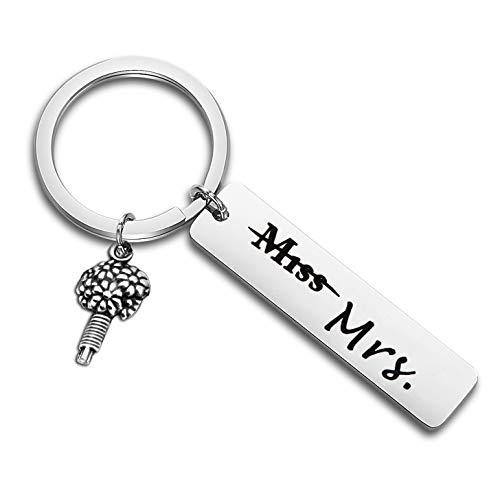 LQRI Bride Gift Miss to Mrs. Keychain Wedding Jewelry Bride covid 19 (Bachelorette Party Keychains coronavirus)