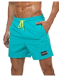 Imixshopps Mens Swimsuit Beach Shorts, Quick Dry Board Shorts with Mesh Lining