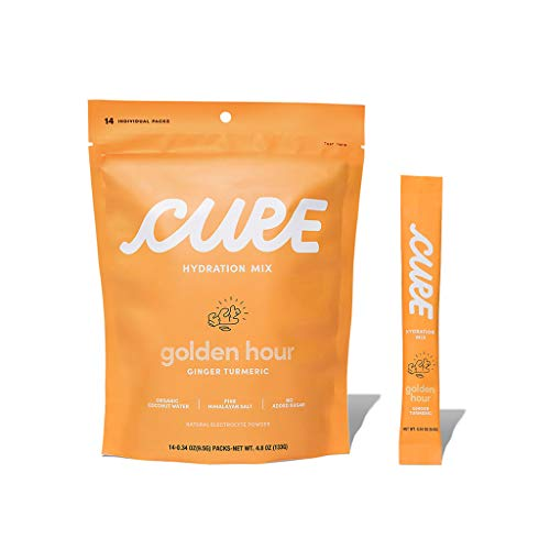 Cure Hydration Mix | Natural Electrolyte Powder | No Added Sugar | Made with Organic Coconut Water | Pack of 14 (Ginger Turmeric)