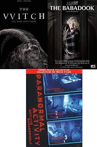 Terrifying Movie 5 Pack Paranormal Activity 1/2/3 + Babadook & THE VVITCH Witch Unsettling Horror Film Set ()
