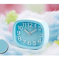 Digital Analog Alarm Clock Bedside Snooze Desk Quartz Clock Home Bedroom Office (Blue)