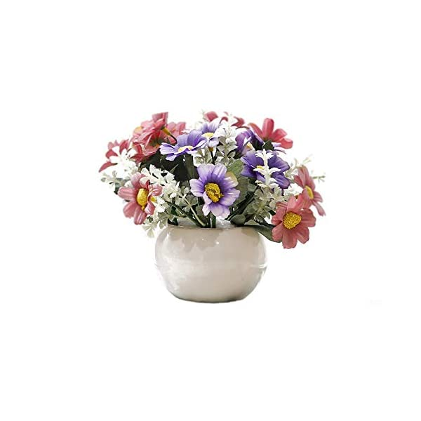 Riverbyland Artificial Silk Flower Arrangement Cosmos Daisy Vivid Potted Plant Style II