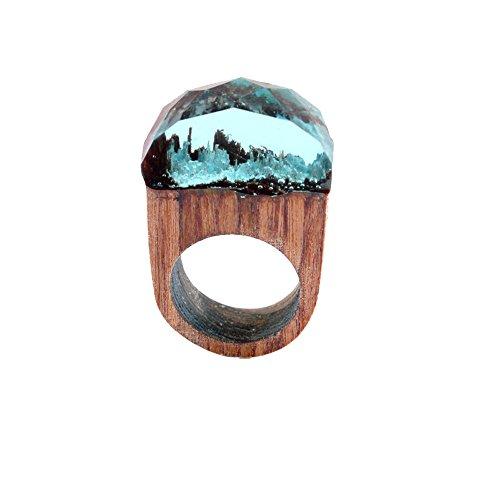 Haluoo 18mm/19mm Handmade Wood Resin Ring Chic Magnificent Tiny Fantasy Secret Landscape Finger Rings for Men Women (18mm, Light Blue)