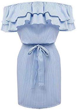 Vestidos con Hombros Descubiertos Vestidos de Verano con Rayas de Mujer
