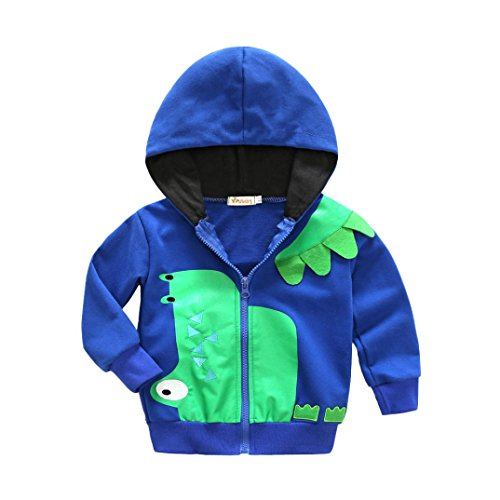 Lowprofile Baby Winter Cartoon Animal Dinosaur Jacket Toddler Boy Girl Hooded Zipper Sweatshirt Coat Outerwear (1-5T) (120 (5T), Blue)