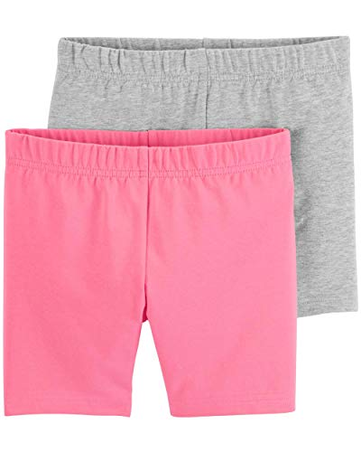 Carter's Girls' Baby, Toddler, Kids, 2 Pack Cotton Leggings/Shorts, Pink/Grey, -