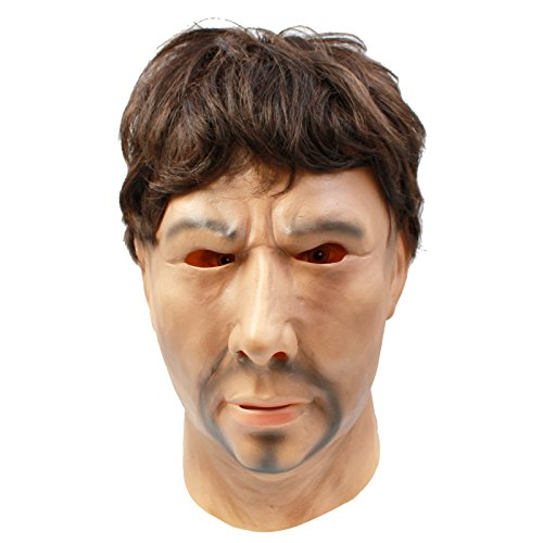CreepyParty Novelty Halloween Costume Party Latex Human Realistic Head Mask Strong Man -