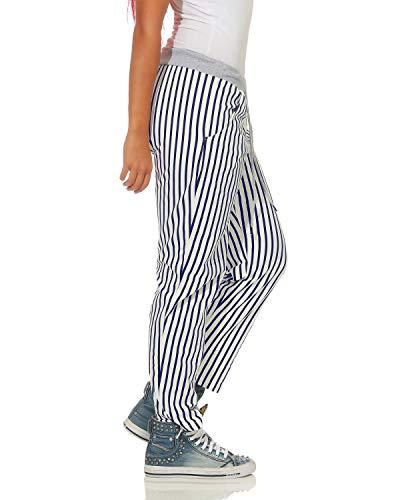 A Zarmexx Larghi Blu Sportivi Boyfriend Pantaloni Stampa Donna Righe All over wprrqXt