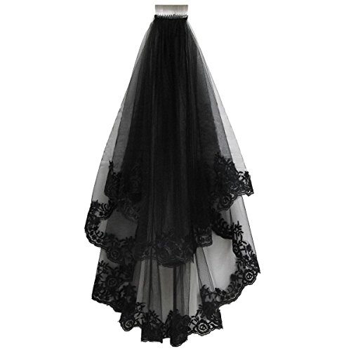 Patty Both Black Ribbon Edge Bridal Wedding Veils with Comb (black lace) ()