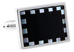 MRCUFF Abalone Rectangle Black White Check Pair Cufflinks in a Presentation Gift Box & Polishing Cloth
