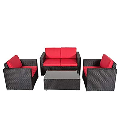 Kinbor Rattan Patio Outdoor Furniture Set Garden Lawn Sofa Sectional Set