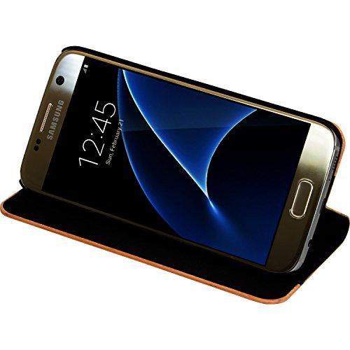Coque Clapet pour Samsung Galaxy S7, Marron et Bois de cerisier naturel