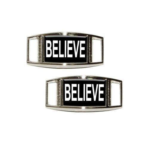 Believe - Black Shoe Sneaker Shoelace Charm Rectangular Deco