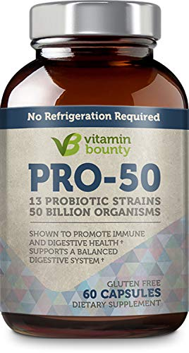 Vitamin Bounty Pro 50 Probiotic with Prebiotics - 13 Strains, 50 Billion CFU, for Gut and Digestive Health with Delayed Release EmbocapsTM & Fermented Greens