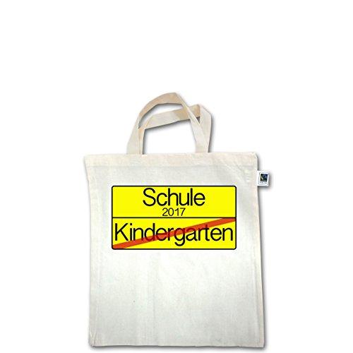 Einschulung - Ortsschild Verkehrsschild Schule 2017 Kindergarten - Unisize - Natural - XT500 - Fairtrade Henkeltasche / Jutebeutel mit kurzen Henkeln aus Bio-Baumwolle