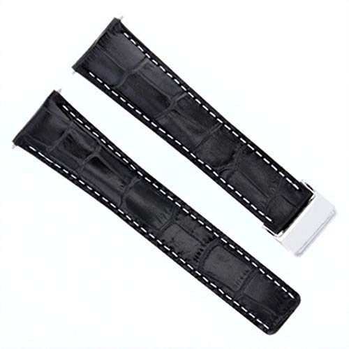 Breitling Leather Bands - 24mm Leather Strap Watch Band Deployment Clasp For Navitimer and Navimeter BA57 A193701 760P2