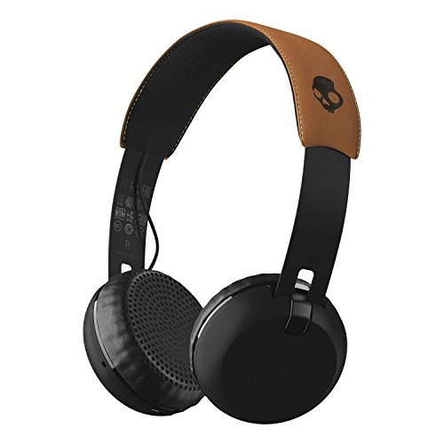 Skullcandy Grind Bluetooth Wireless On-Ear Headphones with Built-In Mic and Remote, 12-Hour Rechargeable Battery, Supreme Sound Audio, Plush Ear Pillows for Comfort, Black/Tan by Skullcandy