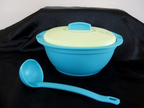 Tupperware New Soup Tureen w/ Ladle, Microwave Bowl Green Blue