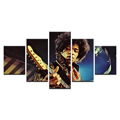 "Fbhfbh 5 P Classic Famous Rock Singer James Marshall""Jimi"" Hendrix Vintage Poster for Living Room Home Decor Canvas Painting On Wall -8 x 14/18/22inch,with Frame"