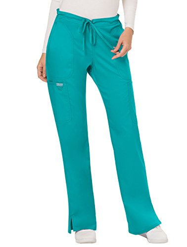 Cherokee Women's Mid Rise Moderate Flare Drawstring Pant, Teal Blue, XX-Large