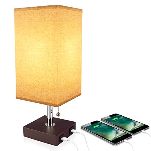 (USB Table Desk Lamp, Acaxin Bedside Lamp with Dual USB Quick Charge Port, Wood Desk Lamp, Black Charger Base with Unique Fabric Shade, LED Light Nightstand Desk Lamps for Bedroom, Living Room, Baby)