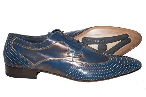 Carlo Ventura 2337 Italienska Mens Metalliska Blå Läder Snör Åt Skor Upp Med Designen