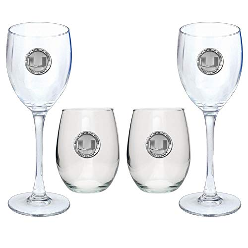 University of Miami Hurricanes Goblet Set Stemmed and Stemless Wine Set
