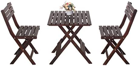 Wenhui Balcone in Legno Tavolo Presidente Set anticorrosivo Legno Patio Conservatorio Outdoor Garden Bistro Cafe Coffee Folding Mobili, Set 3 X