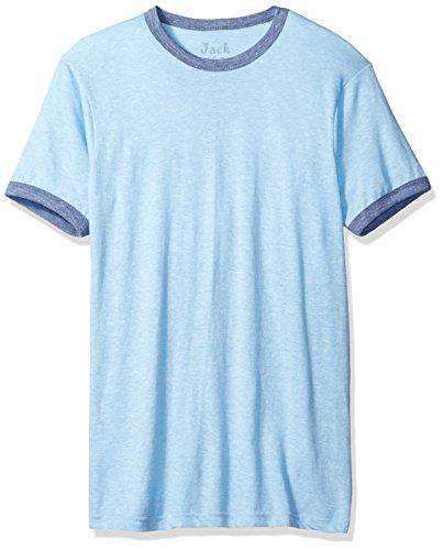Jack of all Trades Men's Triblend Ringer T-Shirt, Light Blue/Royal Heather, (Heather Blue Ringer)