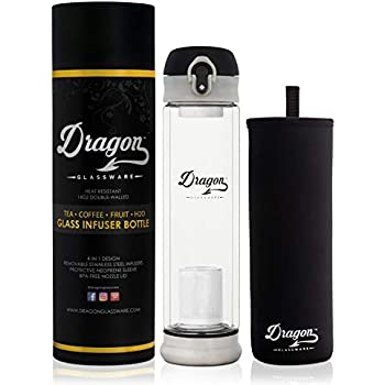 Dragon Glassware Tea Infuser Bottle, Premium Double Walled Tumbler with Flip-Top Lid, 2 Stainless Steel Filters and Travel Sleeve for Loose Leaf Tea, BPA Free, 14-Ounces, Gift Boxed