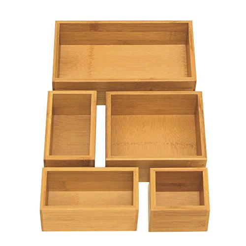 Seville Classics Home 5-piece Bamboo Drawer Organizer Boxes