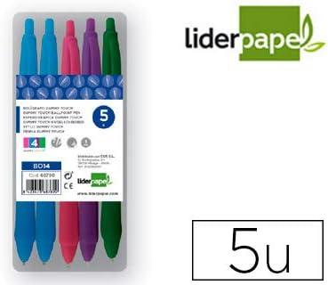 Boligrafo liderpapel gummy touch retractil 1,0 mm colores surtidos rosa violeta verde celeste estuche de 5: Amazon.es: Oficina y papelería