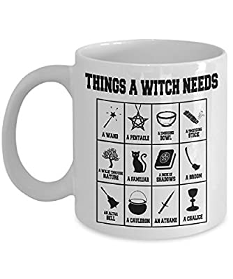 """The """"Things A Witch Needs"""" cool witch mug - A Perfect Wicca Gift for A New Witch To Go With Her/His Wicca Starter Kit!"""