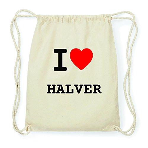 JOllify HALVER Hipster Turnbeutel Tasche Rucksack aus Baumwolle - Farbe: natur Design: I love- Ich liebe