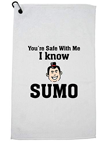 Hollywood Thread You're Safe - I Know Sumo - Funny Golf Towel Carabiner Clip by Hollywood Thread