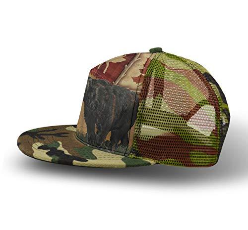 (Men Women Boys Girls Punk Rock Snapback Camouflage Hat Hip Hop Flat Baseball Cap Breathable Outdoor Dance Rustic Lodge Bear Moose Hat with Adjustable Closure)