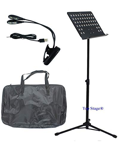 eluxe Lectern Orchestra Conductor Music Stand with Light & carrying bag - Black (With Light and Carrying Bag)