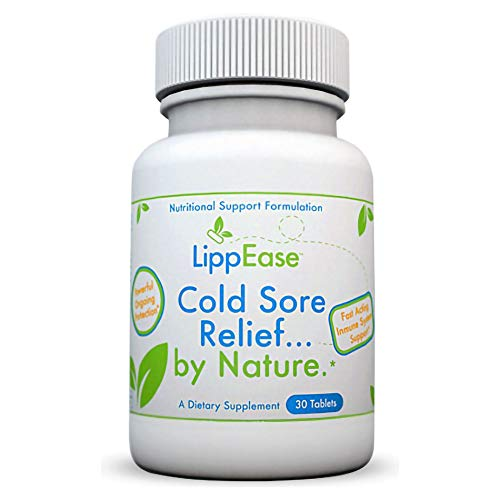 LippEase Fast Acting, Natural Supplement to Treat and Prevent Cold Sores, Herpes and Fever Blisters | Vitamins C, B-12, Zinc, L-Lysine and Echinacea | Immune System Support - 30 Count Bottle (Best Way To Cure A Cold Sore On Lip)