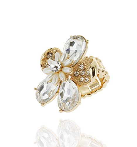 SP Sophia Collection Duchess Daisy Floral Bouquet Crystal Rhinestone Stretchable Fashion Gala Ring in Ginger Gold