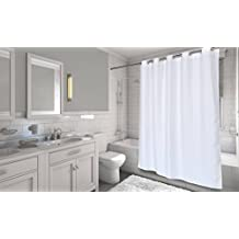 """Royal Bath Easy On (No Hooks Needed) Fabric Shower Curtain (70"""" x 72"""") with Built in Hooks - White Waffle Weave"""