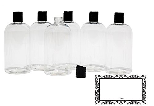 BAIRE BOTTLES - 8 OZ CLEAR PLASTIC REFILLABLE BOTTLES with BLACK HAND-PRESS FLIP DISC CAPS - ORGANIZE Soap, Shampoo, Lotion with a Clean, Clear Look - PET, BPA Free, 6 Pack, BONUS 6 DAMASK LABELS
