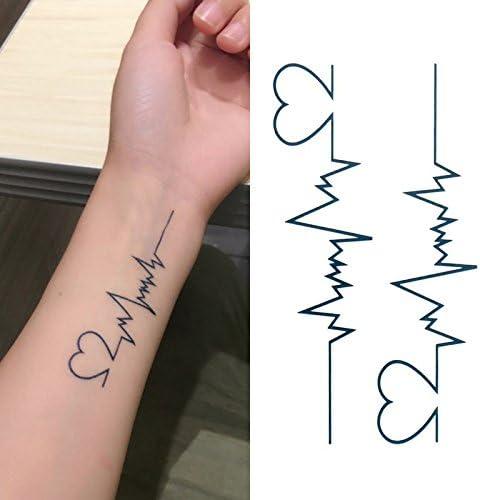 Oottati Tatuajes Temporales Latido Corazón Muñeca (Juego De 2 ...