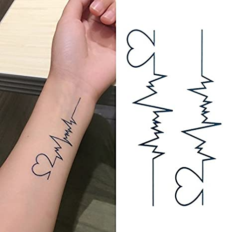 0165e4d49282c Oottati Small Cute Temporary Tattoo Heartbeat Wrist (Set of 2): Amazon.in:  Beauty
