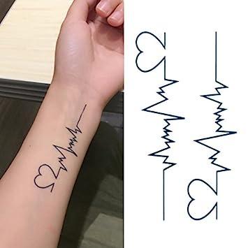 ef1240a9c0bf1 Amazon.com : Oottati Small Cute Temporary Tattoo Heartbeat Wrist (Set of 2)  : Beauty